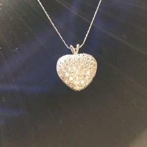 Sterling Silver Pave Puffed Heart Necklace